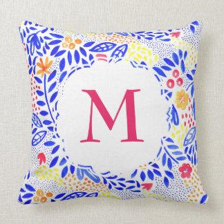 Almofada Coxim floral personalizado do Watercolour colorido