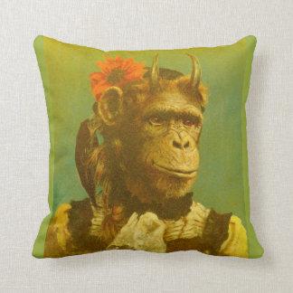 Almofada Coxim Horned engraçado do lance do chimpanzé