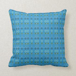 Almofada Coxim modelado floral azul do azulejo de assoalho