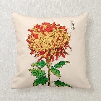 Almofada Crisântemo do japonês do vintage. Ouro e laranja