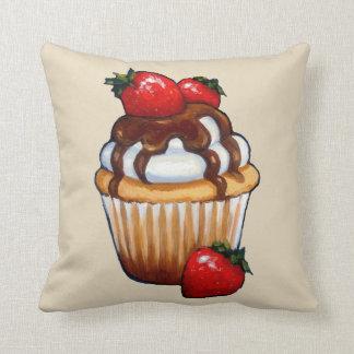 Almofada Cupcake com morangos, chocolate, arte original
