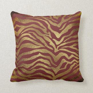 Almofada Da zebra Glam africana do ouro do safari pele