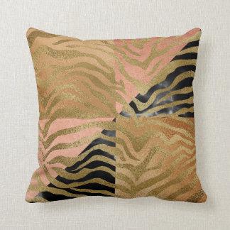 Almofada Da zebra Glam de mármore africana do ouro do