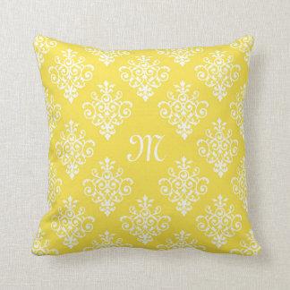 Almofada Damasco amarelo brilhante à moda com monograma