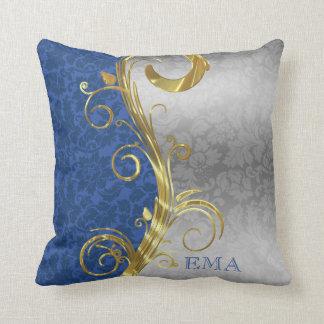Almofada Damasco de prata e azul