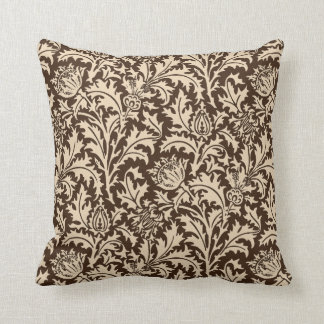 Almofada Damasco do cardo de William Morris, Taupe Tan &