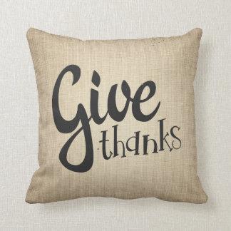 Almofada Dê a obrigados o travesseiro do sofá do outono da