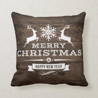 Almofada Decoração de madeira rústica do Feliz Natal da