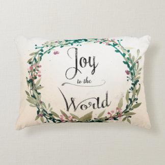 Almofada Decorativa Alegria rústica do Natal ao mundo