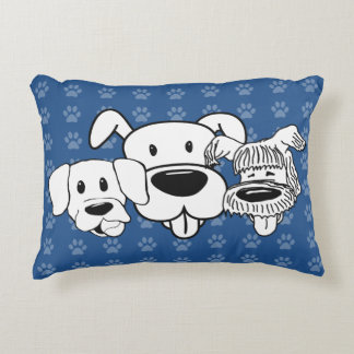 Almofada Decorativa Azul de Pawprints dos cães dos melhores amigos