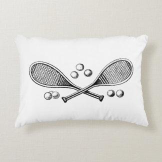 Almofada Decorativa Bolas de tênis cruzadas vintage da raquete de