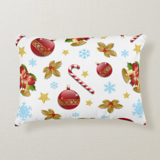 Almofada Decorativa Bolas vermelhas & douradas do Natal, azevinho do
