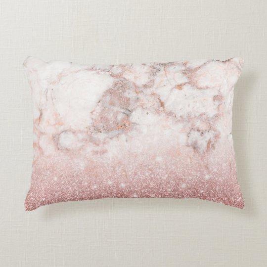 Almofada Decorativa Brilho cor-de-rosa Ombre de mármore branco do ouro