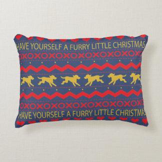 """Almofada Decorativa Cães do Natal peludo"""" do travesseiro do Natal """""""