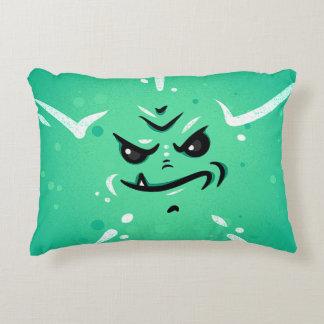 Almofada Decorativa Cara verde engraçada do monstro com sorriso de