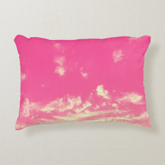 Almofada Decorativa Céu cor-de-rosa e nuvens amarelas