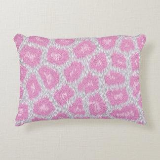 Almofada Decorativa Estilo do leopardo de neve - rosa de prata