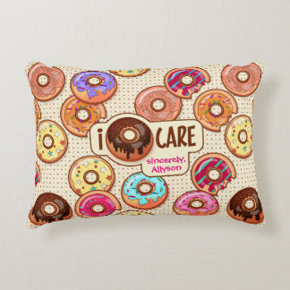 Almofada Decorativa Eu doce engraçado bonito da rosquinha do cuidado
