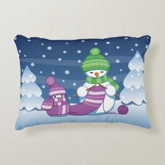 Almofada Decorativa Lenço de confecção de malhas do boneco de neve