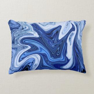 Almofada Decorativa Mármore branco azul do aqua dos redemoinhos da
