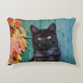 Almofada Decorativa O gatinho bonito do gato preto com vermelho sae da