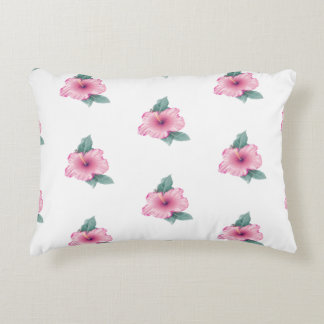 Almofada Decorativa O hibiscus cor-de-rosa do vintage floresce o coxim
