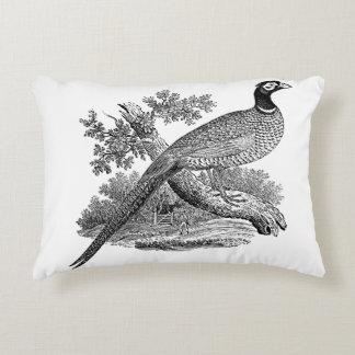 Almofada Decorativa Pássaro de jogo do faisão do vintage que tira BW