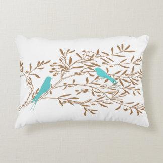 Almofada Decorativa Pássaro e travesseiro azuis do ramo de oliveira