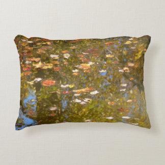Almofada Decorativa Reflexão das folhas e do córrego de outono no