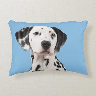Almofada Decorativa Retrato Dalmatian do cão no travesseiro azul