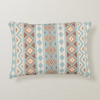 Almofada Decorativa Terracottas de creme azuis astecas da essência V