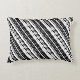 Almofada Decorativa Teste padrão listrado cinzento branco preto
