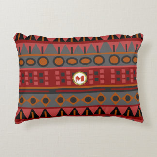 Almofada Decorativa Teste padrão tribal nas máscaras de vermelho, de