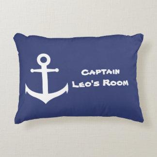Almofada Decorativa Travesseiro azul & branco da âncora náutica feita