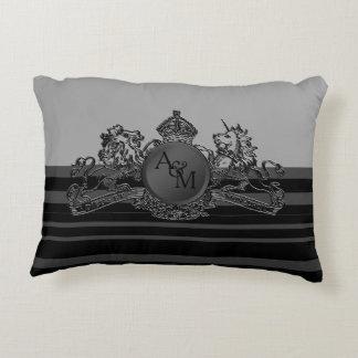 Almofada Decorativa Travesseiro cinzento preto do portador de anel do