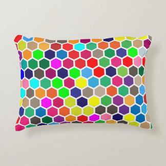 Almofada Decorativa Travesseiro colorido do acento do hexágono