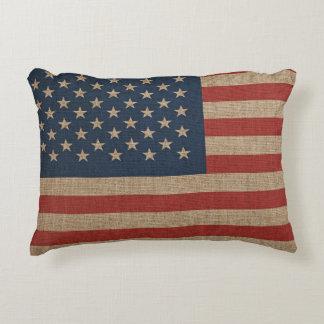 Almofada Decorativa Travesseiro com a bandeira dos EUA em canvas