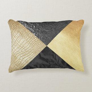Almofada Decorativa Travesseiro do preto & da pele do jacaré do ouro