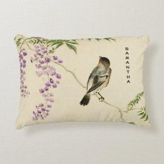 Almofada Decorativa Travesseiro japonês do acento do pardal do Lilac