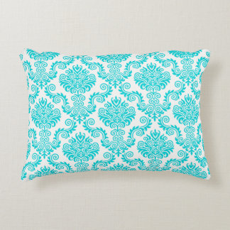 Almofada Decorativa Turquois e cor damasco branca {escolha sua cor}