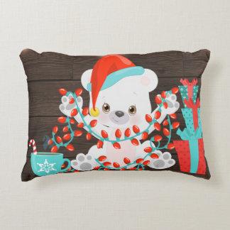 Almofada Decorativa Urso polar pequeno bonito com luzes de Natal