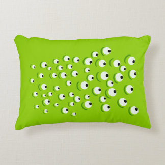 Almofada Decorativa Verde louco e curioso engraçado monstro Eyed