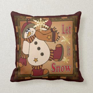 Almofada Deixais lhe para nevar boneco de neve decorativo