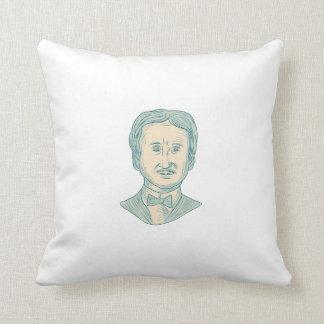 Almofada Desenho do escritor de Edgar Allan Poe