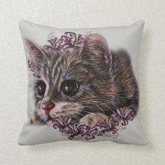 Almofada Desenho do gatinho como o gato com os lírios na