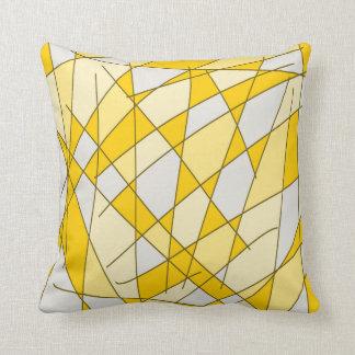 Almofada Design amarelo e branco do teste padrão das formas