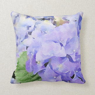 Almofada Design azul da aguarela dos Hydrangeas
