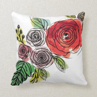 Almofada Design desenhado mão personalizado dos rosas da