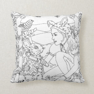Almofada design do jardim do coelho e da menina