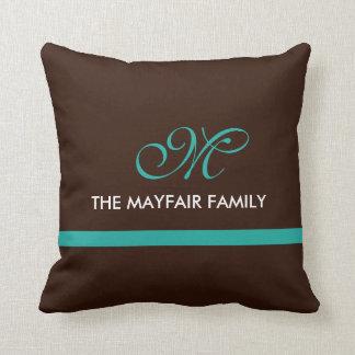 Almofada Design do monograma da família da cerceta de Brown